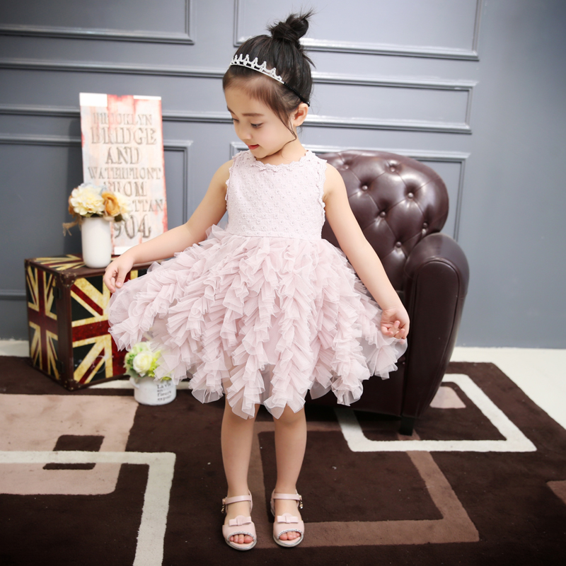 Baby Pearl Button Dresses Princess Girls Summer Children Flower Clothing Kids Party Wedding Embroidery Clothes Children Clothing
