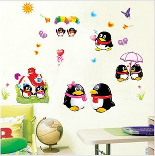 Three generations of cartoon penguin qq wall sticker child real baby sticker