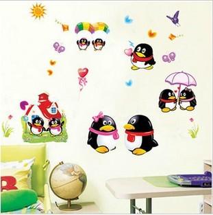 Three generations of cartoon penguin qq wall sticker child real baby sticker