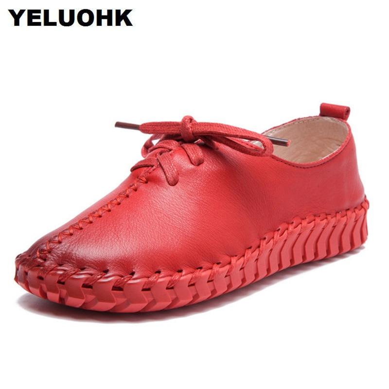 Nuevo Cuero suave para mujer Zapatos Pisos Casual Mujer Mocasines - Zapatos de mujer