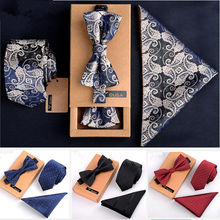 3 PCS Men Bow Tie and Handkerchief Set Bowtie Slim Necktie C