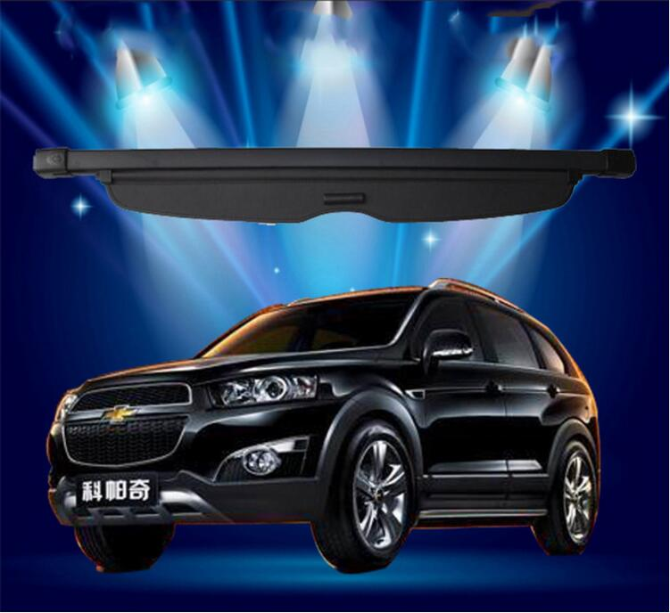 JIOYNG Car Rear Trunk Security Shield Shade Cargo Cover For Chevrolet Captiva 5/7Seats 2008-2014 2015-2017 (Black Beige)