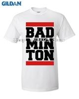 GILDAN Custom Cotton Short Sleeve Bad Minton Design Men T Shirt Big Sale Champion Screw Neck