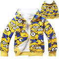 2016 boys girls minions winter hooded jackets coats within faux fur kids bomber jacket teenager outwear Size For 5 6 7 8 9 years