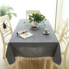 New Japan style Polyester Cotton Tablecloth Red Stripes Tassel Lace Dust-proof Table cloth Wedding Hotel Rectangular Cover