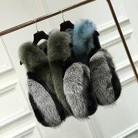 2018 New Winter Women Real Fox Fur Vest Luxurious Natural Fur Jacket Patchwork High Fashion Street Multicolor Genuine Fur Gilet