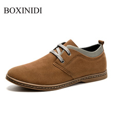 BOXIIDI 2016 autumn fashion lace up 4 color darkblue yellow suede shoes man,hot sale china cheap Russia style real man shoes