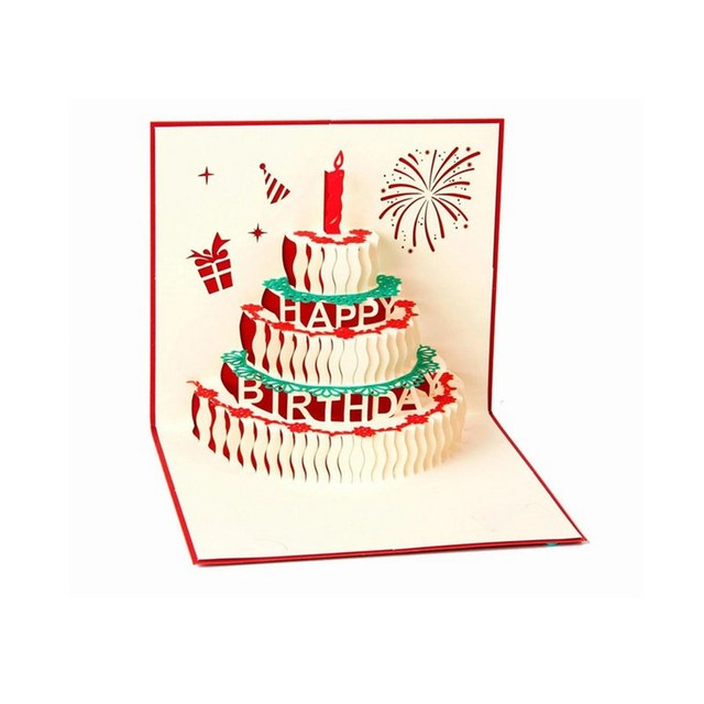 3d Pop Up Greeting Card Happy Birthday Cake Greeting Card