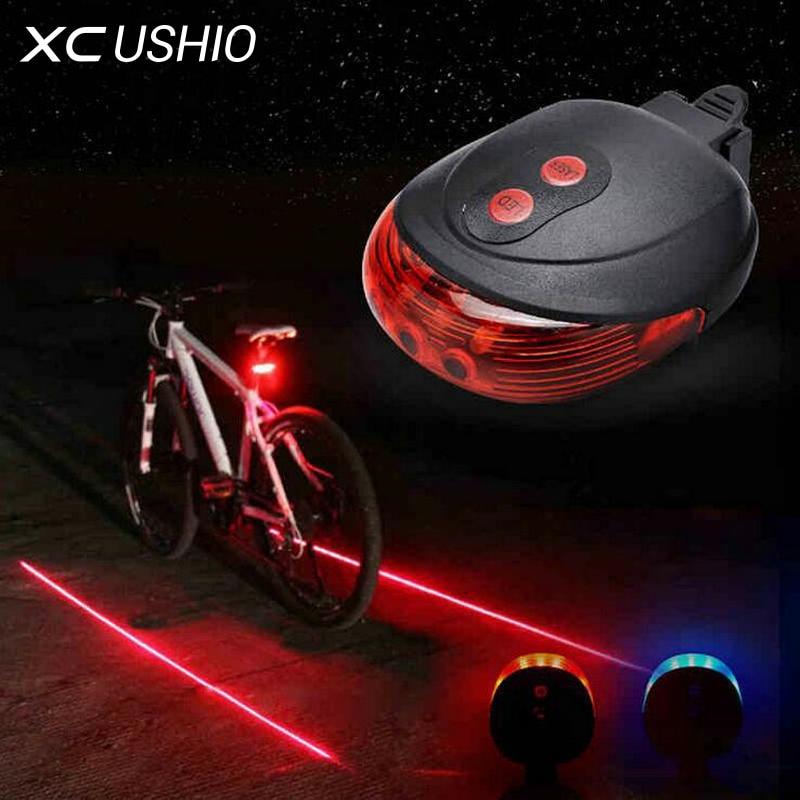 5LED 2, велосипедная лазерная фара с 7 режимами мигания, предупредительный световой сигнал безопасности, водонепроницаемая лазерная задняя фара, мигающая сигнальная лампа с 5 светодиодами 2 лазерными лампочками