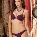 На передней панели кнопка бюстгальтер push up bra set глубокий V-образным Вырезом женщин кружева сексуальный комплект нижнего белья