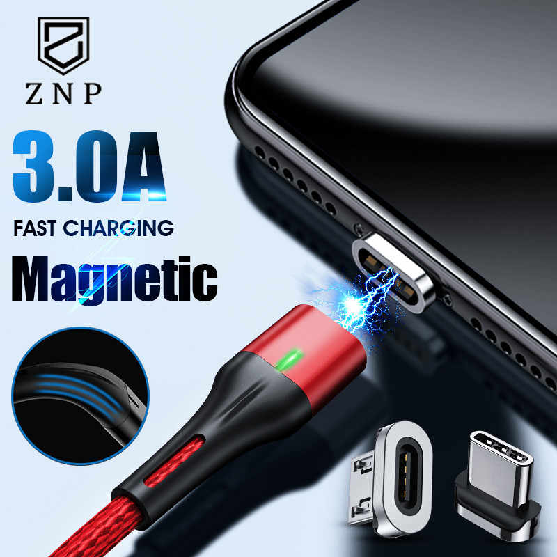 Znp 1M Magnetic Charge Kabel Micro USB Kabel untuk Iphone Samsung Xiaomi Magnetic Charger USB Tipe C Kabel LED pengisian Kabel Kawat