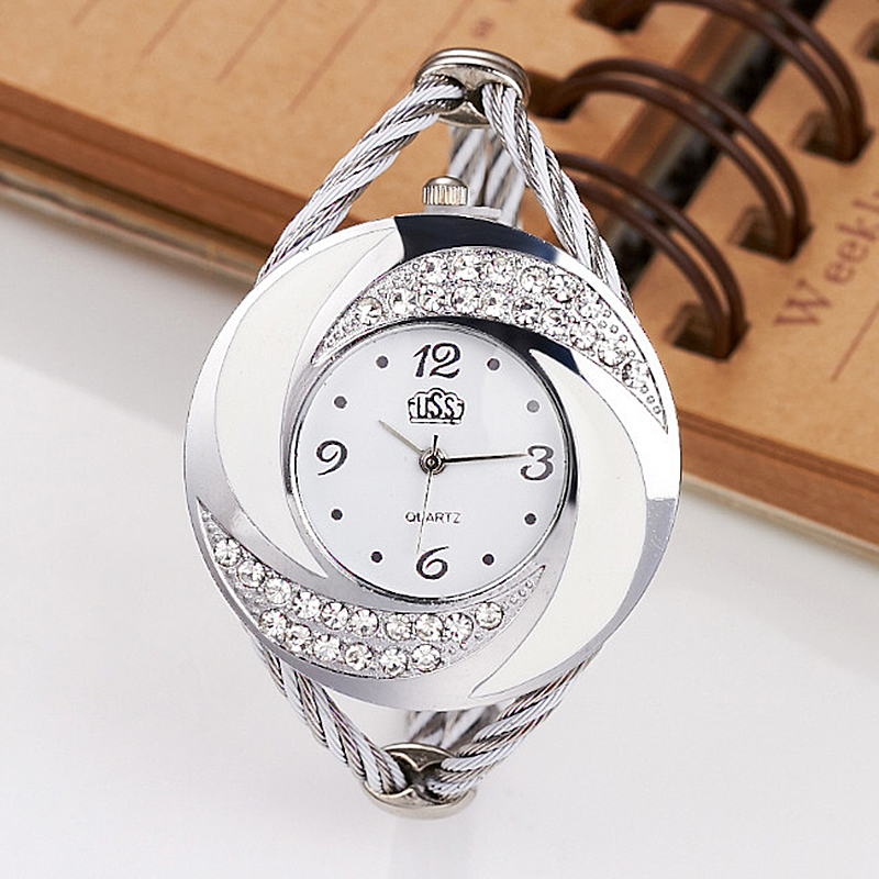 2019 CUSSI Luxury Brand CUSSI Rhinestone Large Wrist Watch Women Fashion Vintage Styling Female Designer Ribbon Band Dress Time