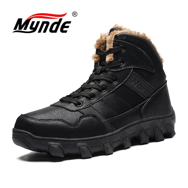 цены на Mynde Plus Size 39-46 Men Boots Anti-skidding Winter Shoes Men Plush Warm Winter Boots Men High Quality Waterproof Snow Boots в интернет-магазинах