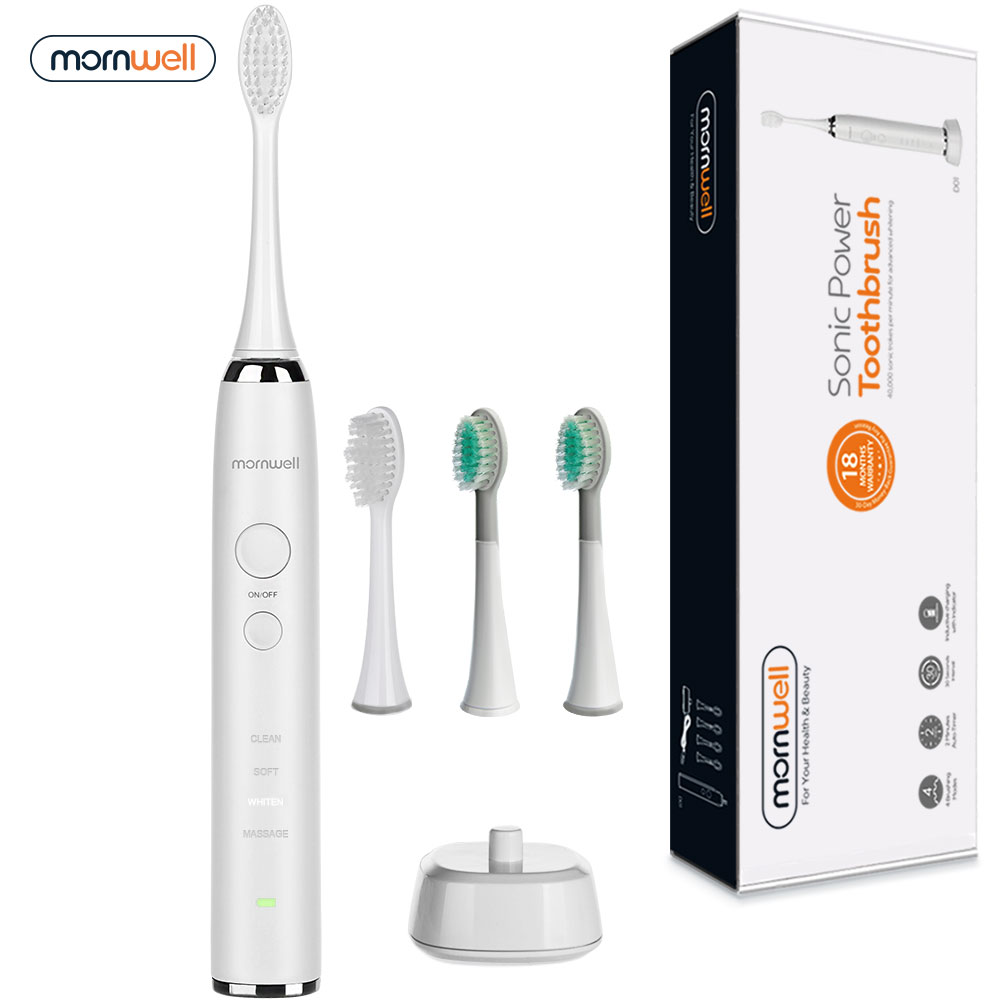 Electric Toothbrush Rechargeable Sonic Toothbrush 4 Brush heads Waterproof Ultrasonic Tooth Brush for Adults Deep Clean Teeth