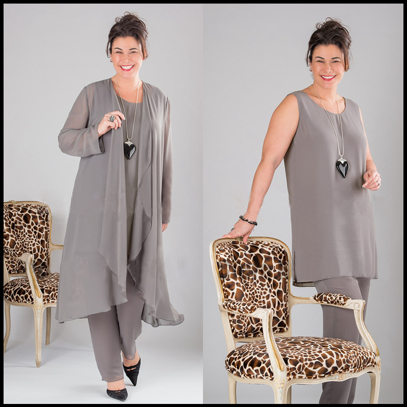 Elegant Gray Chiffon Mother of the Bride Pant Suits Plus Size with Long Top size