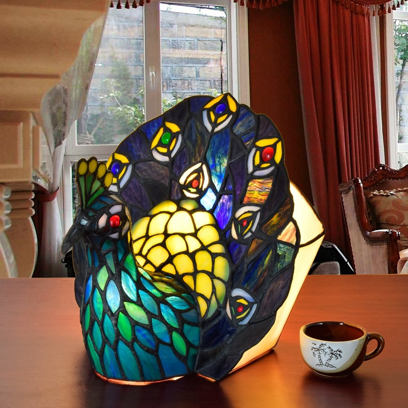 European style Tiffany art glass peacock table lamp Thai Phoenix bar living room dining room bedroom decorative lamp fumat stained glass table lamp high quality goddess lamp art collect creative home docor table lamp living room light fixtures