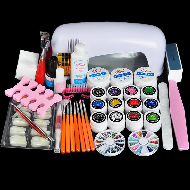 Biutee Professional Full Set UV Gel Kit Nail Art Set + 9W