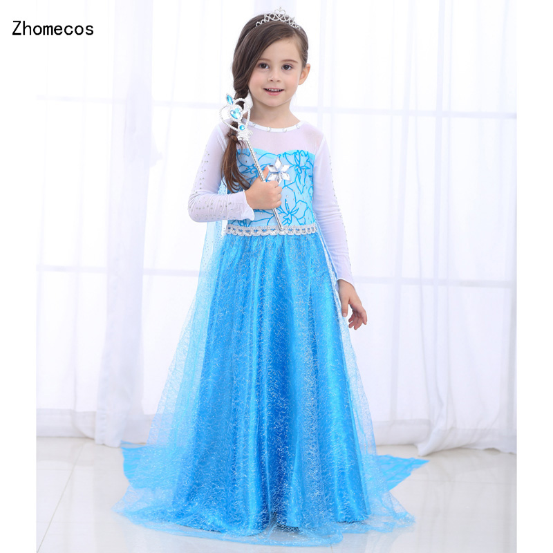 Girls Blue Elsa Queen Dress Costumes with Cape for Kids Halloween Birthday Party Gift Fairy Princess Dress Cosplay Size M -3XL
