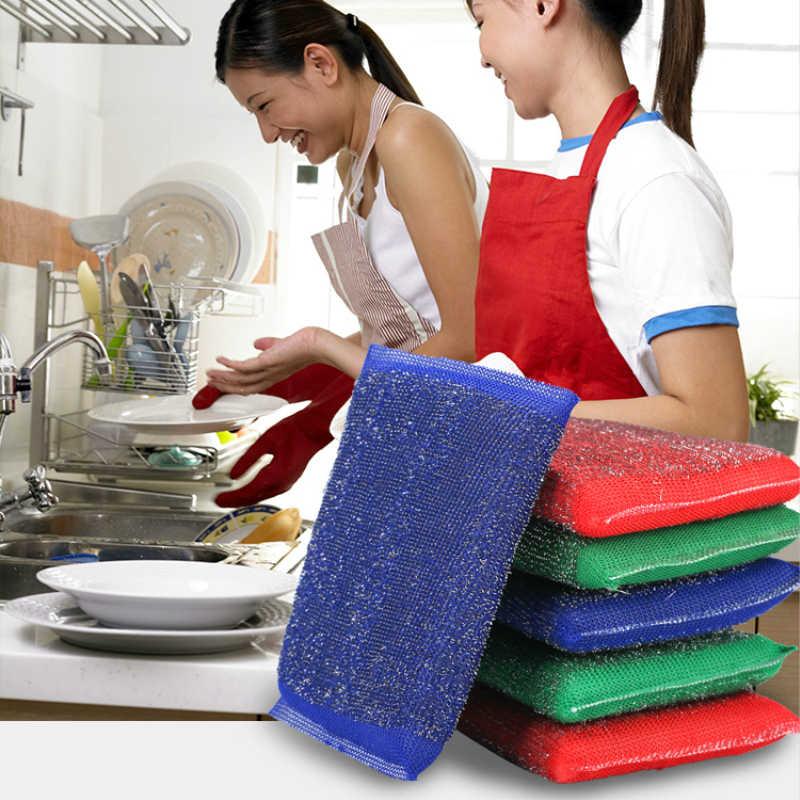 מעשי נירוסטה חוט ספוג הגעלה בד מטבח טיהור נקי קערה/צלחת/סיר מברשת ביתי ניקוי כלי