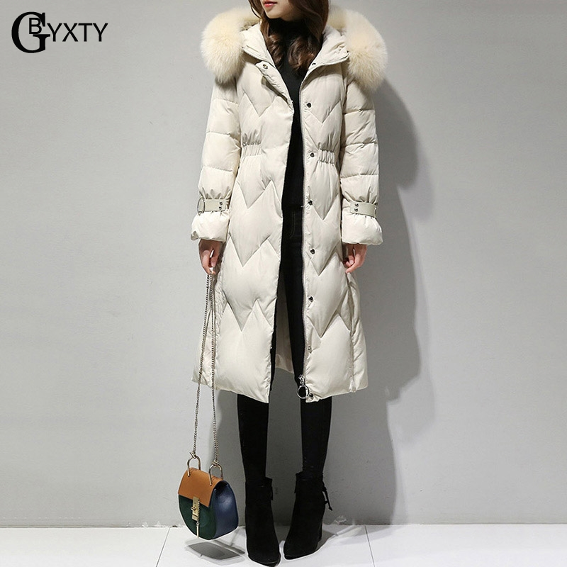 GBYXTY doudoune femme Winter Jacket Women Real Fox Fur Collar Thick Long Down Jacket Hood Feather Duck Down Coat Overcoat ZA1033