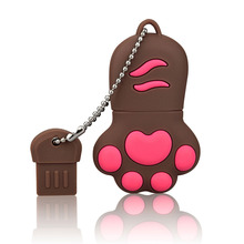 J-boxing Brown USB Flash Drive 32GB Lovely Cat Claws Pendrive 16GB Memory Sticks Women 64GB Thumb for Computer Mac Tablet