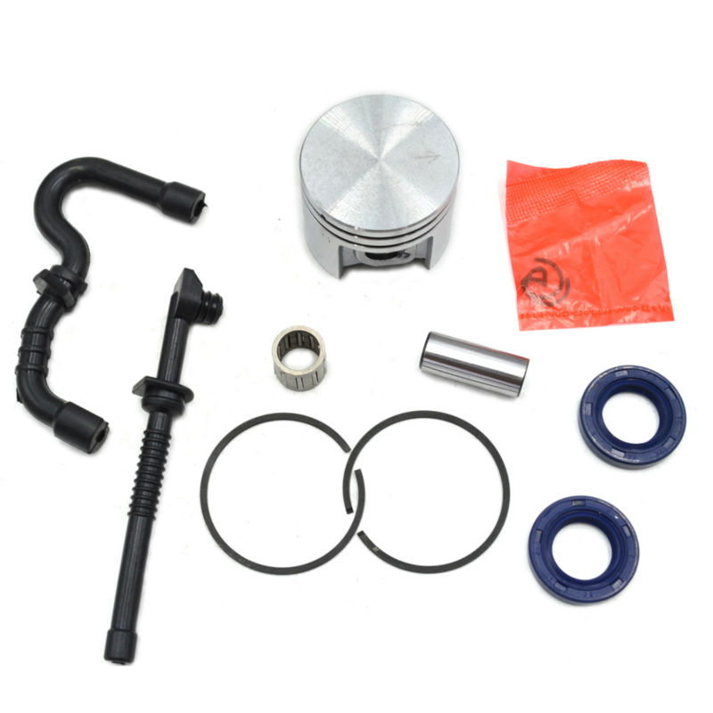 MS180 Chainsaw Piston Kit with Needle Bearing Rings and Fuel Oil Hose Pipes Oil Seal Set for Stihl Saw Spare Parts Replacement