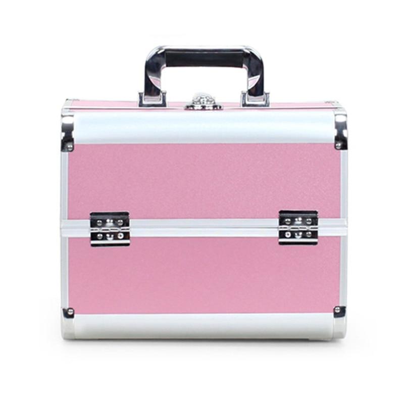 Boîte Grande Portable Aluminium Multi Outils pink couche Professionnel Cosmétique Nouveau Cas À Capacité Grand Pvc En Sac Cadre Ouvert Black red Double aqz6p