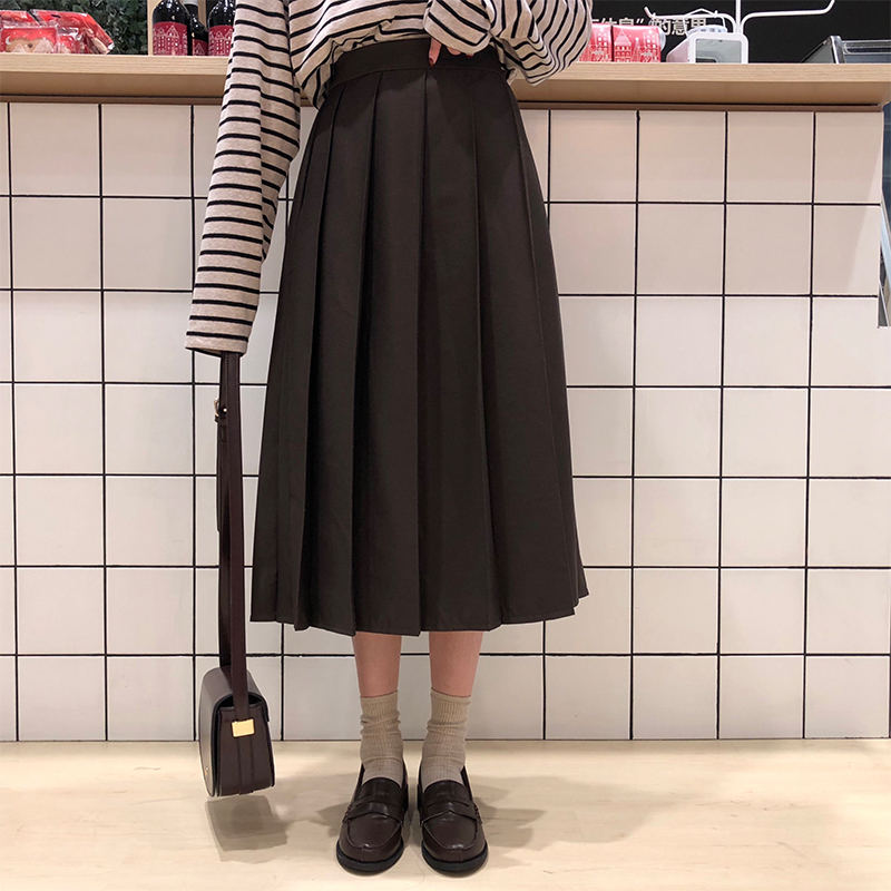3 Colors 2019 Spring Autumn Female Long Skirts Women High Waist Long Pleated Skirt Solid Color A Line Skirt Womens (X150)