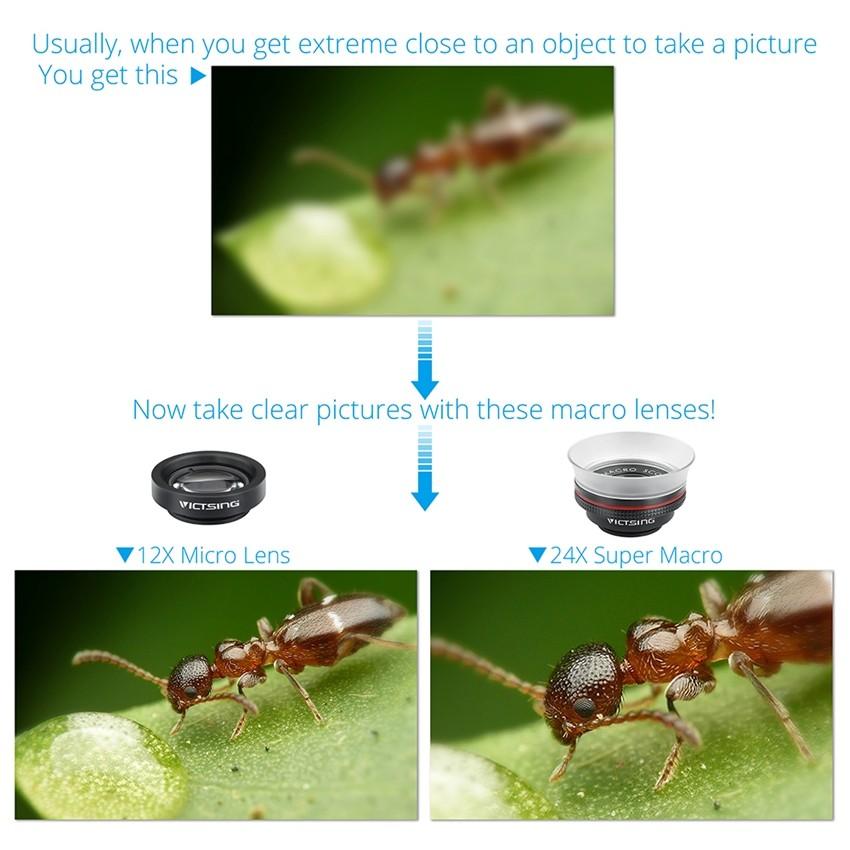 VICTSING Clip-on 3 in 1 Camera Phone Lens Kit Fisheye Lens + 12X Macro + 24X Super Macro Lens for iPhone 6s 6 Plus etc Cellphone 6
