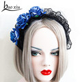 Blue rose black lace wide headband women gothic lolita vintage tiaras party bridal hair accessories jewelry 2016