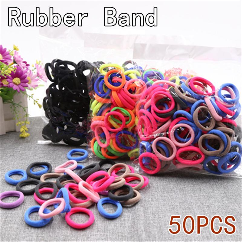 50pcs/lot Fashion Solid Big Size Candy Colored Quality Elastic Ponytail Holders Accessories Girl Women Rubber Bands Tie Gum