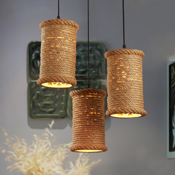 American Country Iron Hemp Rope Pendant Lamp Loft Kitchen Dining Bar Pendant Light Vintage Cafe Bar Lighting Decorative Fixtures