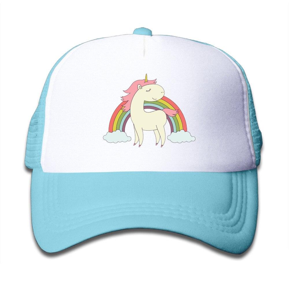 9eb6bf36 AGARY&EASY Brand rainbow unicorn.png Children boy High-quality Sports Bone Trucker  Hats Fashion Mesh Caps Adjustable Hat