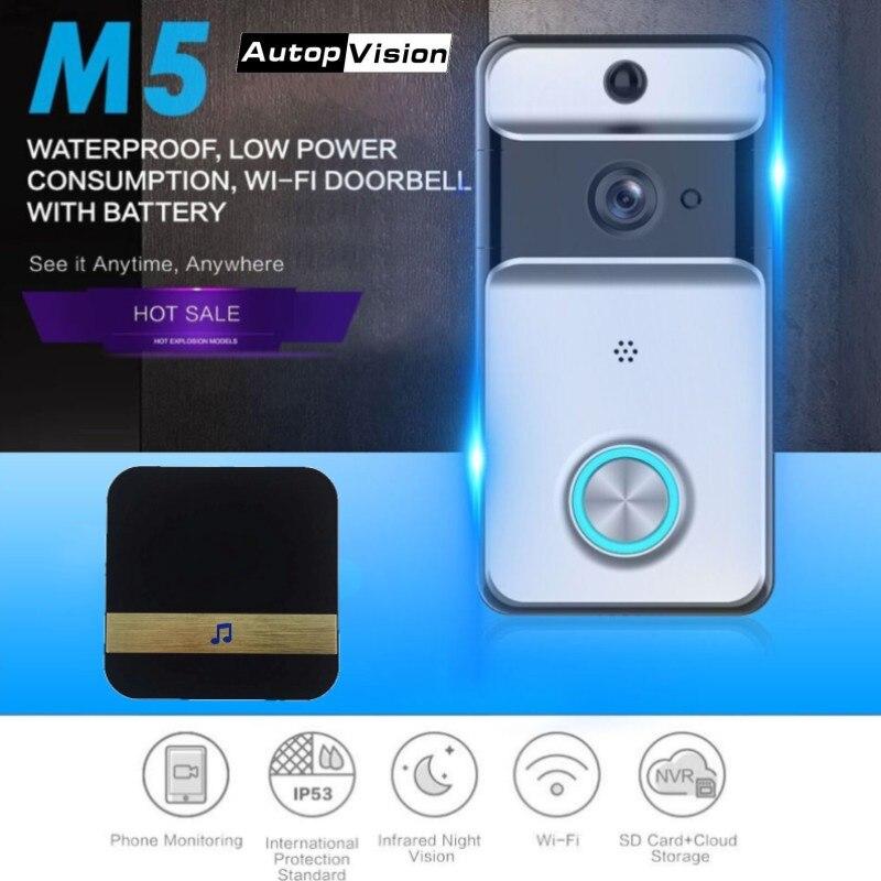 M5 Waterproof Wireless Doorbell Low Power Wifi Video Door Phone Intercom Doorbell Camera With Built-in Battery Ring Chime