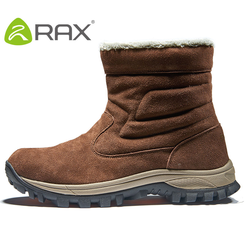 RAX 2017 Hiking Shoes Winter Men Snow Boots outdoor Trekking Boots Genuine Leather Men Climbing Walking Shoes Snow Shoes yin qi shi man winter outdoor shoes hiking camping trip high top hiking boots cow leather durable female plush warm outdoor boot
