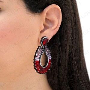 Image 2 - GODKI Luxury Water Drop Multicolor Dangle Earrings Trendy Cubic Zircon Wedding Engagement Party Brazil earrings for women 2019