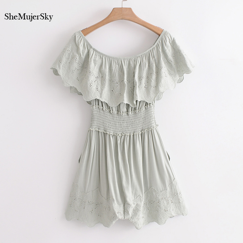 SheMujerSky Women Green Rompers Off Shoulder Embroidery Floral Jumpsuit Elastic Waist Playsuit