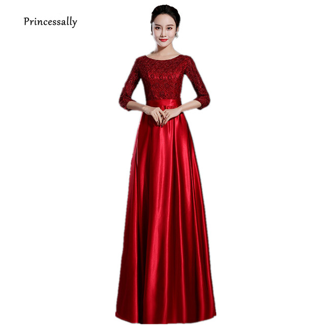 Robe De Soriee New Wine Red Satin Evening Dress Elegant Classy With Sleeve  Lace Black Grey Formal Long Prom Evening Party Gown 1bebd50cd909