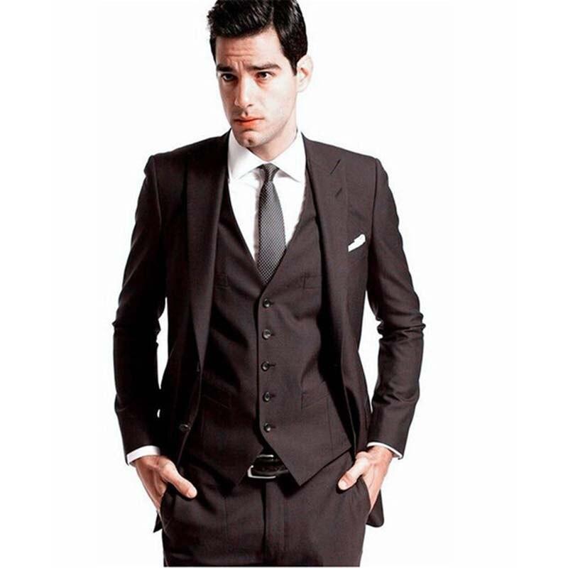 2019 Custom Made Mens Wedding Tuxedos Groom Dark brown Suits Bridal Blazers Dinner men Suit ( jacket+Pants+vest+tie)