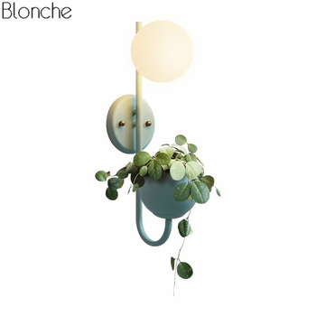 Nordic Macarons Plants Wall Lamp with Flowers Pot Glass Ball Lampshade Wall Sconce for Living Room Study Bedroom Bedside Lamps
