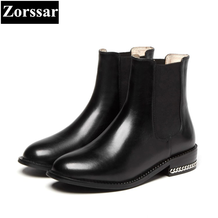 {Zorssar} 2017 NEW winter short plush Womens Boots Genuine Leather flat heel ankle Chelsea Boots fashion chain women shoes flats