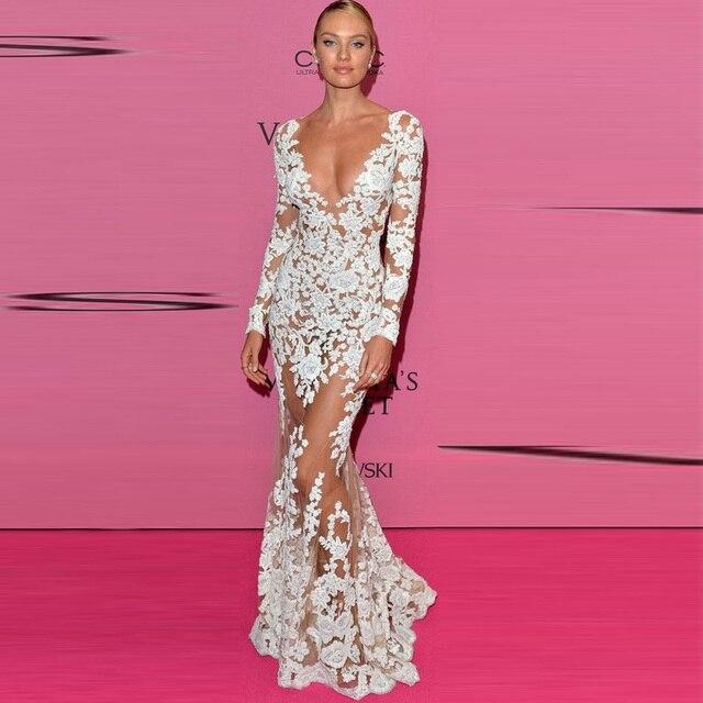 a685c3733ca5 2018 Vestido largo De encaje fiesta noche para mujer Vestidos Maxi largos  Sexy cuello en V profundo vestido Bodycon bata Mujer