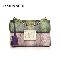 Retro Vintage Women Serpentine Messenger Bag Lady Patchwork Crossbody Bag High Quality Female Snake Leather Chain