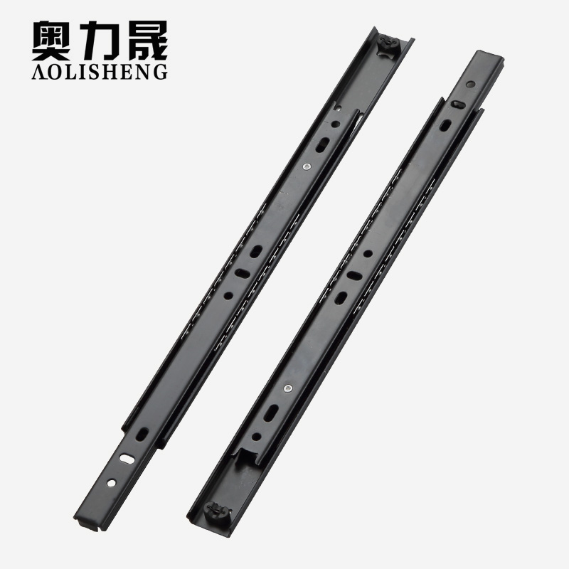 Image 2 - Free Shipping 27mm Width Two Sections Ball Bearing Telescopic Furniture  keyboard tray  Drawer Slides Rail-in Slides from Home Improvement