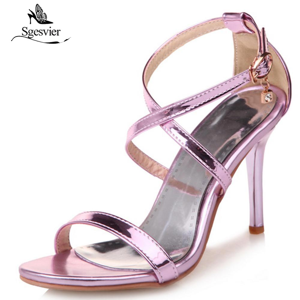 SGESVIER Women Sandals Thin High Heels Shoes Summer Fashion Sexy Peep Toe Gladiator Sandals Ladies Red Party Wedding Shoes OX319 super high 8cm up pump women fashion cross tied shoes peep toe sandals ladies party casual wedding shoes 2 colors