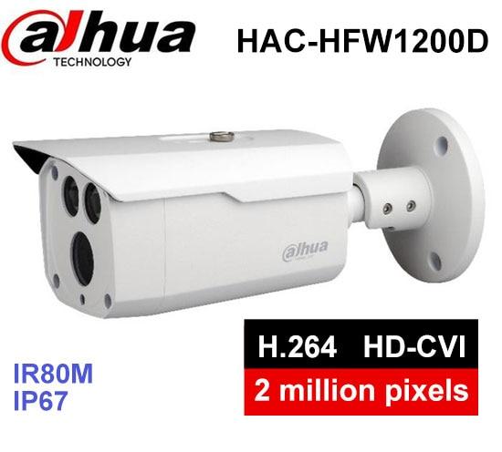 Dahua HDCVI 1080P Bullet Camera 1/2.7 2MP CMOS 1080P IR 80M IP67 HAC-HFW1200D security camera DH-HAC-HFW1200D camera dahua hcvr7208a s3 8ch h 264 1080p hdcvi dvr security system kit 8pcs dahua dh hac hfw1100s 960p ip67 ir hdcvi bullet camera