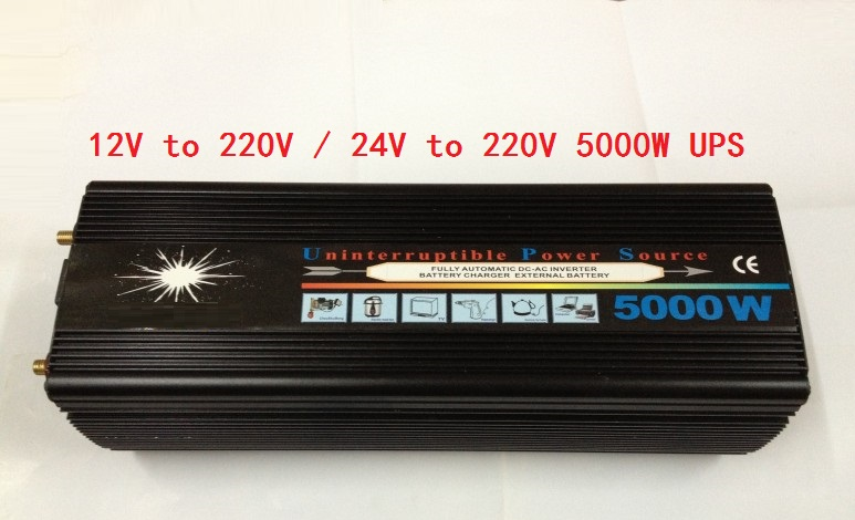 5KW 5000W DC12V or 24V input to AC220V 230V output Power Inverter UPS 5000W Modified Sine Wave With Battery Charging function solar power on grid tie mini 300w inverter with mppt funciton dc 10 8 30v input to ac output no extra shipping fee