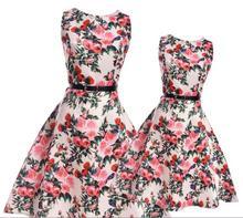 Mother Daughter Dresses Teenage big Girls floral Flower Dress Mother Daughter Clothes party Family Matching Clothing for Kids