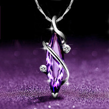 S925 sterling silver clover purple natural crystal female necklace Korean short clavicle pendant