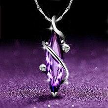 цена S925 sterling silver clover purple natural crystal female necklace Korean short clavicle pendant necklace онлайн в 2017 году